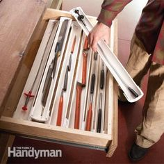 Workshop drawer organizers Slit some PVC pipe down the middle and you've got stackable drawer organizers to keep all your small tools handy. Garage Shed, Garage Tools, Diy Garage, Garage Storage, Garage Ideas, Tool Storage, Lumber Storage, Storage Units, Garage Workshop Organization