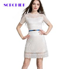 SORCHIDF Summer Dresses New Elegent White Party Dress Fashion Hollow-out Short Sleeve Clothing Lace Work Mini Dress Girls D015