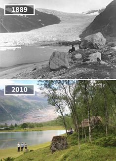 Then-and-Now Photos of Norway's Landscapes Over the Past Years Then And Now Pictures, Old Pictures, History Photos, History Facts, Norway Landscape, Photo Voyage, Historia Universal, Interesting History, Global Warming