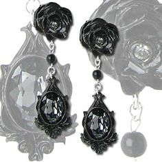 **No Expedite and Second Day Shipping Available.**  A black rose and crystal tear of fated love. Earrings - pair.