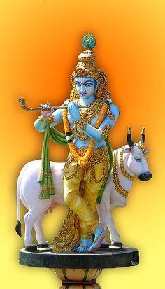 Lord Krishna with Cow (Photographic Print - Unframed) Krishna Hindu, Krishna Statue, Baby Krishna, Radha Krishna Photo, Hindu Deities, Radhe Krishna, Hanuman, Durga, Kali Hindu
