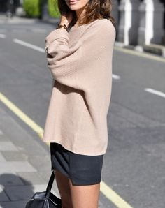 Slouchy sweaters + mini skirts.