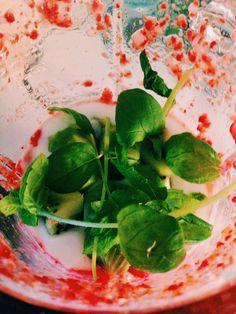 Mansikka, basilika ja kiivi smoothie.