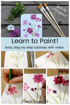 Its time to learn how to paint cosmos flowers one stroke at a time. This step by step painting lesson is beginner friendly. Cosmos are a great annual flower for the cutting garden. Canvas Painting Tutorials, Acrylic Painting For Beginners, Acrylic Painting Techniques, Step By Step Painting, Beginner Painting, Painting Tips, Painting & Drawing, Watercolor Paintings, Watercolor Tips