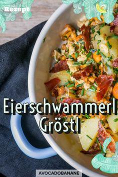 Eierschwammerl Gröstl - AvocadoBanane Food Inspiration, Curry, Food Porn, Veggies, Lunch, Vegan, Dinner, Ethnic Recipes, Foodies