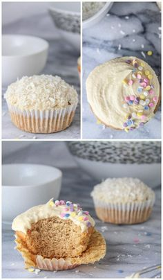 Gluten Free Single Serve Vanilla Cupcake - Two ways with a dairy free option Single Cupcake Recipe, Gluten Free Cupcake Recipe, Gluten Free Cheesecake, Cupcake Recipes, Cupcake Cakes, Dessert Recipes, Single Serve Desserts, Single Serving Recipes, Köstliche Desserts