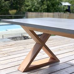 Concrete Outdoor Dining Table, Concrete Dining Table, Timber Table, Timber Deck, Concrete Kitchen, Concrete Furniture, Concrete Projects, Concrete Design, Patio Table