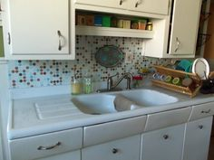 Backsplash Makeover Hot Glue Bead Board Over Current Backsplash Will Stay Up For As Long As You Want But If You Ever Want To Remove It It Comes
