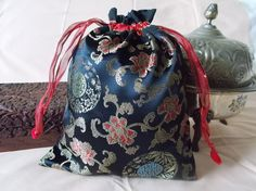 Chinese drawstring bag black with black by EcoTurtleUpcycling