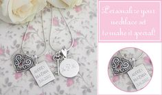 Sterling silver engraved mother and daughter jewelry set
