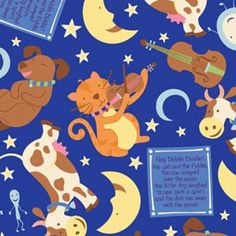 Hey Diddle Diddle on Dark Blue Cotton Fabric from SewBaby.com