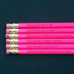 Reasons why I love You pencils from Etsy