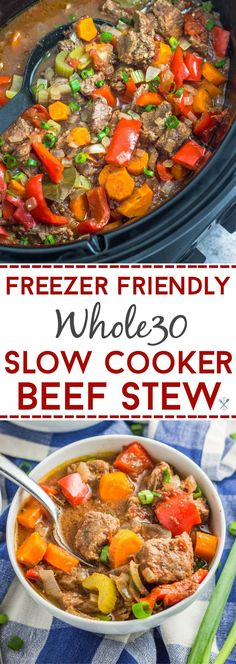 This paleo and Whole30 beef stew is an easy crockpot or slow cooker meal. And freezer friendly to assemble, then store and freeze for later!