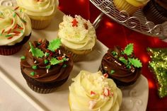 Cupcake Ideas ~ Dessert Table ~ Candy Buffet ~ Lime, Red, White, and Silver Christmas Party