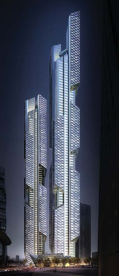 Dancing Dragons twin towers by Adrian Smith + Gordon Gill Architecture.