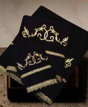 Beautiful black and gold embroidered towel collection Cotton Towels, Hand Towels, 2nd Wedding Anniversary Gift, World Decor, Embroidered Towels, Terry Towel, Bath Towel Sets, Guest Towels, Kids Bath