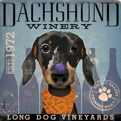 Dachshund Winery artwork original graphic illustration signed archival artists print giclee 12 x 12. $39.00, via Etsy.