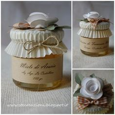 Paper muffin cups toppers for packaging jams, etc. Jar Gifts, Food Gifts, Craft Gifts, Gift Jars, Mason Jar Crafts, Mason Jars, Art Café, Jar Packaging, Diy And Crafts