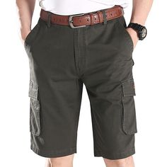 Sale 13% (28.61$) - Summer Mens Casual Quick-drying Multi-pockets Cargo Pants Cotton Knee-length Trousers