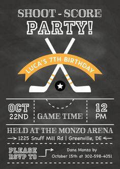 icm_fullxfull.131789496_gv8vff9c6e0csgog4cko.gif (540×756) Hockey Birthday Parties, Hockey Party, Skate Party, Sports Party, Birthday Party Themes, Birthday Ideas, Winter Wonderland Birthday, Winter Birthday, First Birthday Invitations