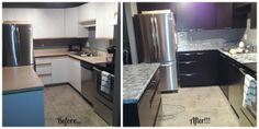 Before and After using Giani Granite Countertop Paint and Nuvo Cabinet Paint.  Affordable home makeovers! www.gianigranite.com www.nuvocabinetpaint.com
