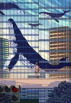 """トーコ Tokoさんのツイート: """"最近のまとめ 1.空中横断歩道 2.永久落下 3. 世界の向こう側 4.空が降る日… """" Pretty Art, Kinder Art, Pixel Art, Imagination Art, Art Tips, Aesthetic Anime, Aesthetic Art, Cool Art, Anime Scenery"""