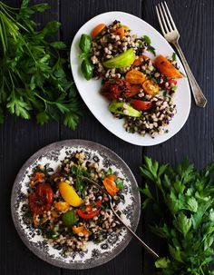 An easy and healthy weekend dinner idea: barley tomato salad.