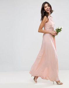 Vestido largo plisado con top de encaje de ASOS WEDDING