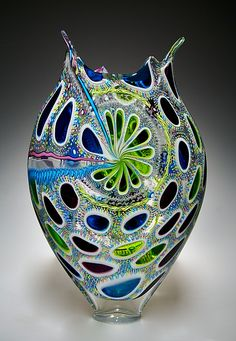 """""""Aqua, Lime, and Hyacinth Foglio"""" Art Glass Vessel created by David Patchen on Artful Home"""
