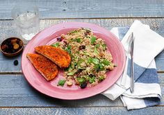 Raapjes met couscous, varkensschnitzel en cranberry's Met een winterse smaak