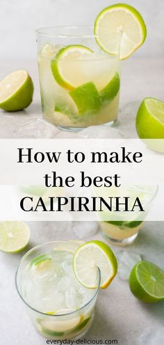 Caipirinha is a delicious and easy to make Brazilian drink. It's made with cachaça, limes, sugar and ice. It's so refreshing and well balanced. You can make a traditional lime caipirinha or fruit variations! Cachaca Cocktails, Caipirinha Recipe, Caipirinha Cocktail, Cocktail Drinks, Lime Cocktail Recipes, Brazilian Drink, Brazilian Cocktail, Summer Drinks, Fun Drinks