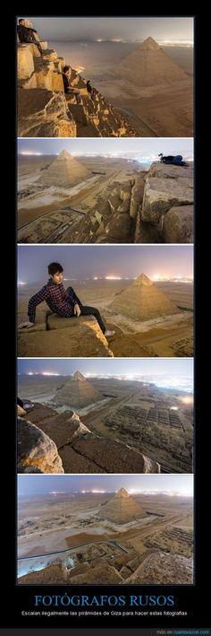 FOTÓGRAFOS RUSOS - Escalan ilegalmente las pirámides de Giza para hacer estas fotografías
