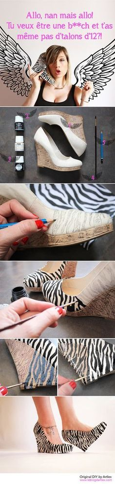 Louboutin DIY// High heel shoes DIY // DIY Louboutin // It would be much easier to just use zebra fabric Shoe Refashion, Diy Clothes Refashion, Diy Clothing, Shoe Makeover, Flipflops, Creative Shoes, Diy Accessoires, Diy Mode, Diva Design