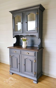 Antique glazed charcoal buffet and hutch. French provincial hutch with timber top. Painted white inside. furniture redo upcycled furniture www.rawrevivals.com.au