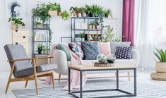 Buy Floral living room interior by bialasiewicz on PhotoDune. Beige settee and grey armchair near wooden table in floral living room interior with plants Decor, Farm House Living Room, Room Design, Cool Rooms, Home Decor Trends, Home Decor, Trending Decor, Winter Home Decor, Living Room Designs
