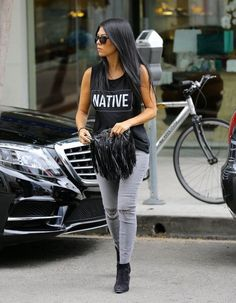 I love everything about this look! Hair, makeup, outfit! Kourtney Kardashian