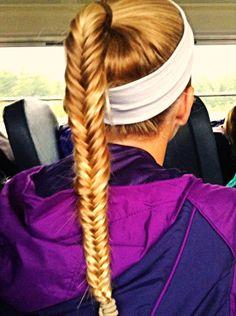 Fockey hair. Fishtail braid