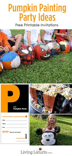 Pumpkin Painting Party Ideas {Free Printables} - - Fun and easy ideas for hosting a Halloween Pumpkin Painting party for kids! Fall Birthday Parties, Halloween Birthday, Halloween Kids, Halloween Pumpkins, Halloween Goodies, Halloween Stuff, Halloween Halloween, 7th Birthday, Halloween Treats