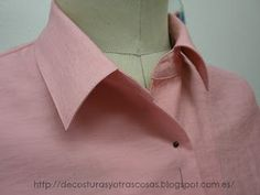 Collar stand tutorial - in picture, don't sew oden turned up edge: stop sewing at seam allowance, leave thread tails, tie closed. After sew collar to neck, trim shirt neck @ CF to match curve sewed. Sewing Hacks, Sewing Tutorials, Sewing Crafts, Sewing Projects, Sewing Clothes, Diy Clothes, Dress Patterns, Sewing Patterns, Sewing Collars