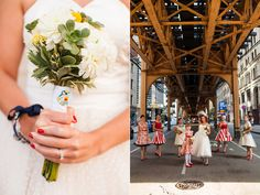 Vintage Americana Chicago Wedding - Love the Wonder Woman pin on the bouquet. I'd like to have Batgirl instead.