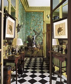 Exquisite Chinoiserie wallpaper or hand-painted mural in the entrance or hall of the apartment of Yves St. Lauren and Pierre Berge in Paris - Image and architecture via Francois-Joseph Graf - exquisite detailing, antiques, art.