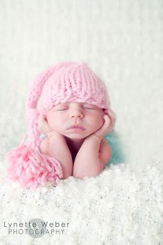 Newborn Hat  POWDER PINK Mini longtailed stocking by Knitbysarah, $23.00