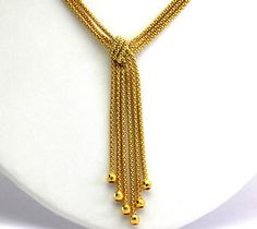 Sterling Silver & Gold Vermeil Knotted Mesh Tassel Faceted Bead Drop Necklace