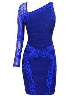 Blue Lace One Shoulder Bandage Dress . Shop now at :  http://misscircle.com/Dresses/Bandage-Dress/Sexy-Cut/Blue-Lace-One-Shoulder-Bandage-Dress.html