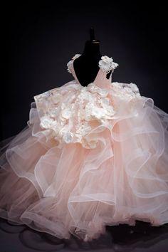 V-Neck Applique Handmade Flowers Floor Length Ball Gown Pearls Tired Skirt 2018 Luxurious Flower Girl Dresses Gowns For Girls, Dresses Kids Girl, Kids Outfits, Flower Girl Dresses, Flower Girls, Toddler Dress, Baby Dress, Fashion Kids, Cheap Fashion