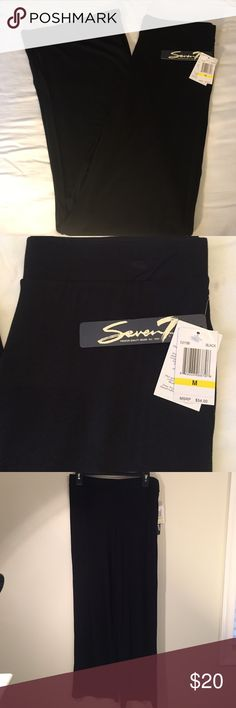 "Seven7 NEW Black Med. Knit Pants w/ Elastic Waist Seven7 NEW Black Medium Light Weight Knit Pants w/ Elastic Waist 32"" Inseam Flare Leg  95% Rayon 5% Spandex Seven7 Pants"