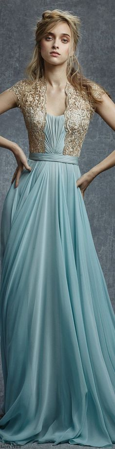 Reem Acra ~ Evening Gown, Aqua, Pre-Fall 2015. This has Duchess of Cambridge written all over it. Exquisite!!: