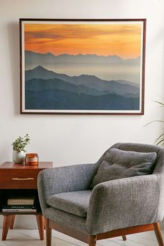 Urban Outfitters//Guido Montanes Sunset Mountains Art Print - No Frame