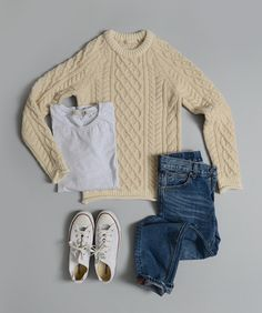Back to basics - Fisherman sweater, jeans, a t and sneakers Fashion Moda, Look Fashion, Womens Fashion, Teen Fashion, Mode Style, Style Me, Casual Outfits, Cute Outfits, Shabby Chic