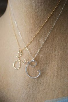 Say my Name Initial. Dainty & feminine.  I want one for each of my babes....silver and gold mix!!